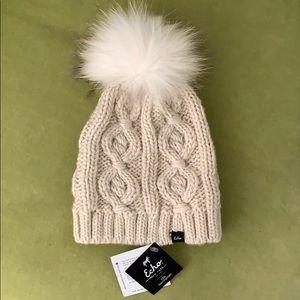 Echo knit beanie with fur pompom